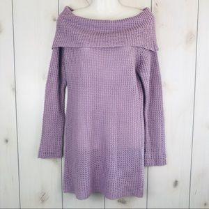 Sweaters - Soft Purple Off Shoulder Tunic Sweater Dress Large
